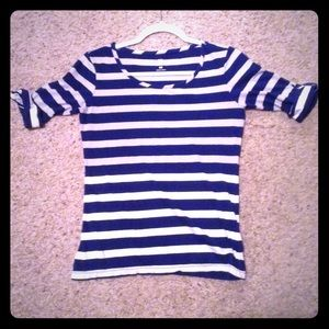 Royal Blue n White Stripe 3/4 folded Sleeve XS